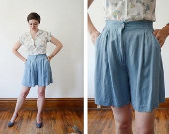 80s Blue Rayon Izod Club Shorts - M