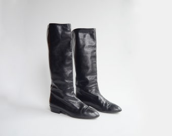 80s Black Leather Anne Klein Boots - 8