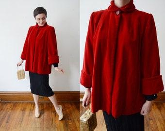 1940s Red Velvet Swing Coat - M
