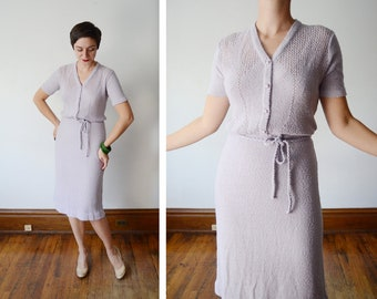 1970s Lavender Short Sleeve Knit Dress - M