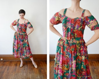 1980s Floral Open Shoulder Sundress - M