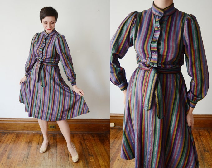 1970s Rainbow Striped Party Dress - M