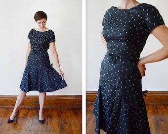 1950s Spotted Boat Neck Dress - M