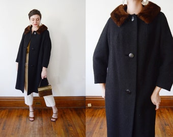 1960s Hudsons Black Wool Coat - M