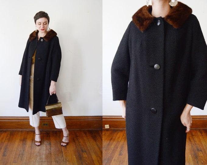 1960s Hudsons Black Wool Coat - M