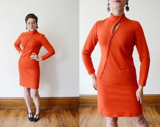1960s Orange Knit Skirt Suit - S