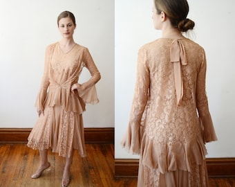 1920s Blush Beige Lace Dress - XS