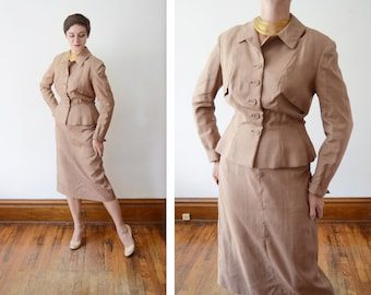 Deadstock 1950s Silk Skirt Suit - M