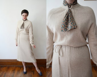 1970s Beige Sweater Dress - M