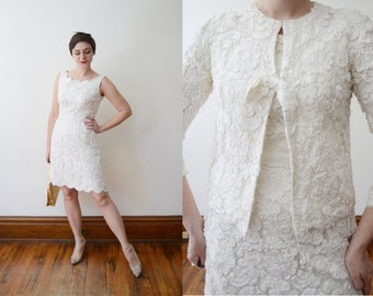 1960s White Ribbon Soutache Dress and Jacket - M