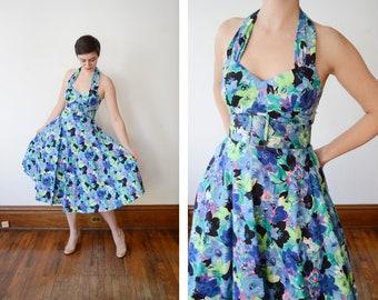 Cotton 1980s Floral Halter Dress - S
