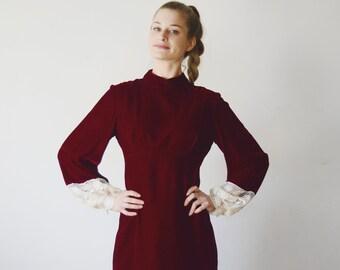 1970s Red Velvet Maxi Dress - XS/S