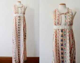 1970s Floral Maxi Dress - XS