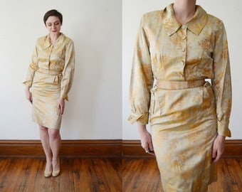 1950s Gold Brocade Shirtwaist Dress - S