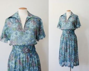1970s Sheer Blue Floral Dress - S/M