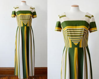 1970s Olive Green Striped Maxi Dress - M