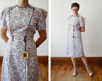 Deadstock Early 40s Floral Cotton Dress - S/M