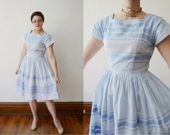 1950s Blue Gingham Day Dress - M