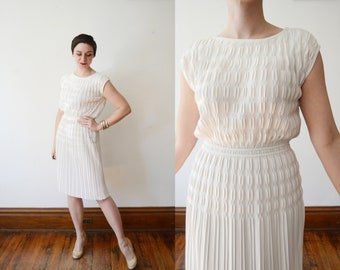 1960s White Pleated Nylon Dress - S/M/L