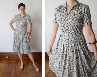 1950s Jersey Zip Front Dress - S/M