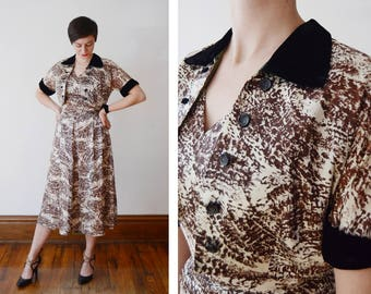 Early 1950s Brown and Cream Patterned Dress and Jacket Ensemble - S/M