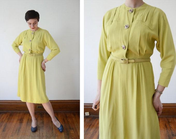 1940s Chartreuse Crepe Dress - S/M