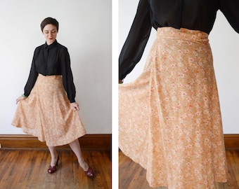 1970s Brown Floral Wrap Skirt - S