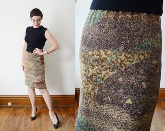 1980s Metallic Knit Skirt - M