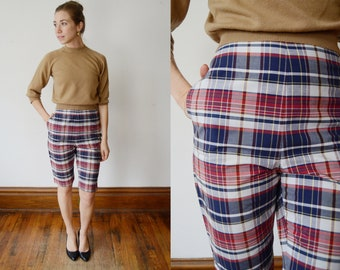 1950s Plaid Capri Pants - XS