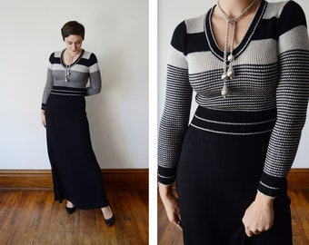 1970s Black and Silver Knit Maxi Dress - S/M