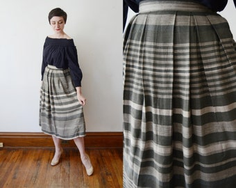 80s Grey Linen Striped Skirt - S