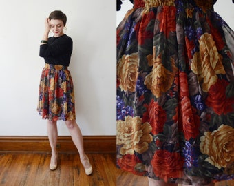 1980s Floral Chiffon Skirt - S/M
