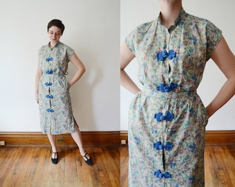 Resort Wear / 1960s Frog Closure Dress - M