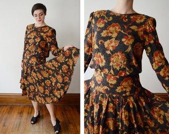 1980s Dark Floral Rayon Dress -  L