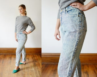 1980s Pastel Highwaisted Acid Wash Jeans - S