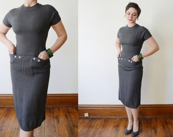 Fitted 1950s Grey Dress with Pockets - S