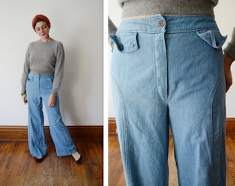1970s Soft Blue Wide Leg Jeans - M/L