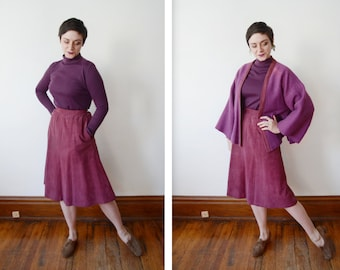 1970s Bonnie Cashin for Sills Purple 3 Piece Wool Set - S As Is