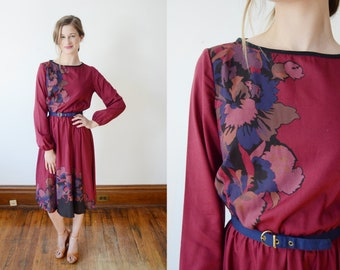 1970s Maroon Floral Dress - XS/S