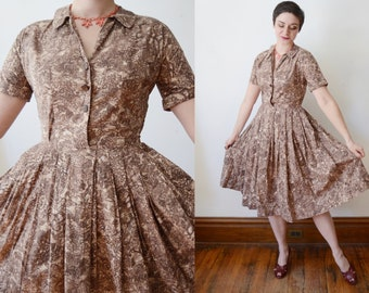 1950s Handmade Brown Cotton Floral Dress - S