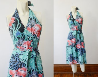 1970s Tropical Halter Wrap Dress - XS