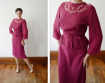 1940s Maroon Rayon Beaded Dress - M