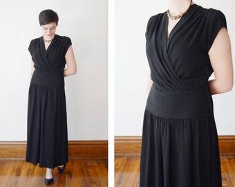 1940s Black Long Dress - M