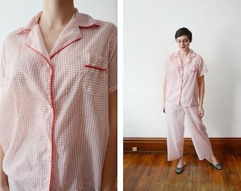 1950s White and Red Pajamas - M
