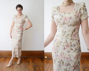 1990s Floral Dress / Cream Rayon Dress - S