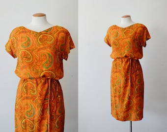 1960s Orange Paisley Shift Dress - S