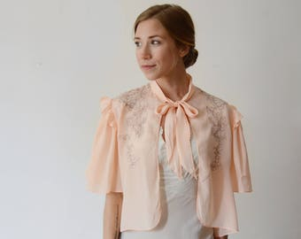 1940s Pink Embroidered Bed Jacket - XS/S/M
