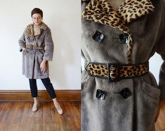 1970s Faux Fur Leopard and Grey Coat - M
