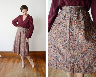 Patterned Wool 1980s Skirt - S/M