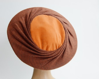 1950s Brown and Orange Velvet Plate Hat